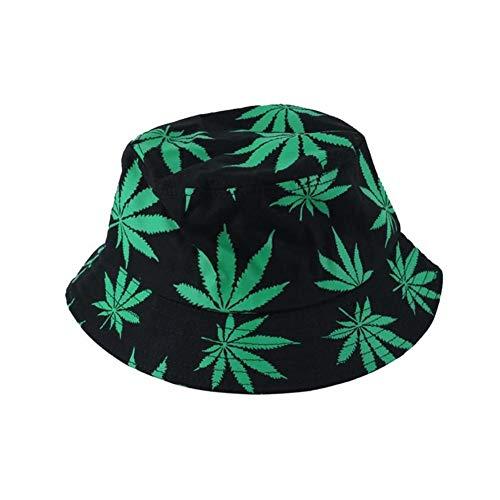 Firoya Fischerhüte Fischerhut Unisex Sonnenhut Bucket Hat Fischerhut Cannabis Muster Mütze Fischerhut Kopfumfang ca. 58cm