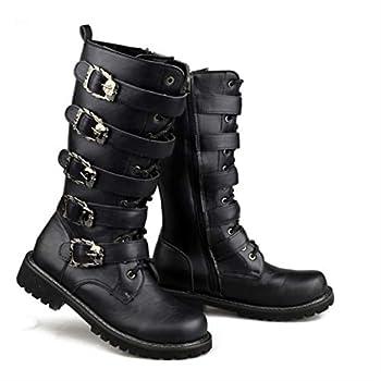 Army Boots Men Military Leather Combat Metal Buckle Male Motorcycle Punk Boots Men39 s Shoes Rock Zapatillas Deprtivas Hombre Black