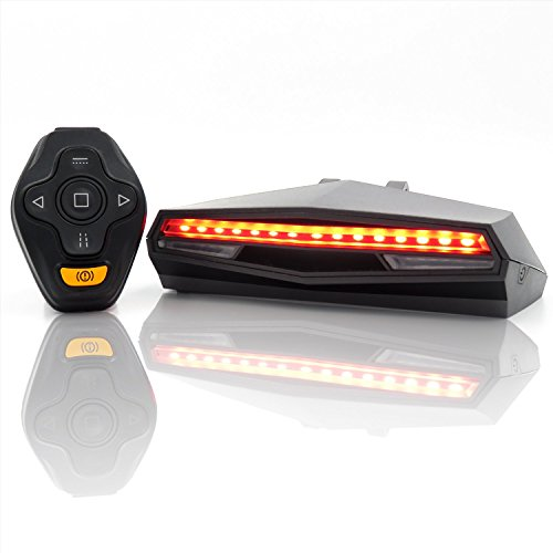 Ampulla Rechargeable Bike Tail Light LED - Remote Control, Turning Lights, Ground Lane Alert, Waterproof, Easy Installation Cycling Safety Warning Light