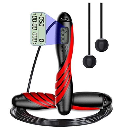 ZJH Contador digital de cuerda de salto para fitness en interiores y exteriores, ajustable, cuerda de salto, para hombres y mujeres (color: plata)