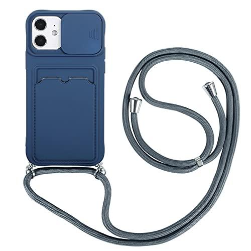 FOURTOC Funda con Cuerda para iPhone 12 12 Pro 12 Pro MAX Carcasa Protección de La Cámara Cubierta de Cámara Deslizante Proteger TPU Silicona Case con Ranura para Tarjetas,D Blue,11 Pro MAX