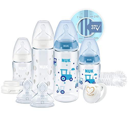 NUK Perfect Start First Choice+ Set Biberon | 0-18 Mesi | 4 x Biberon con Controllo Temperature, Ciuccio, Scovolino Bottiglie + | Sfiato anti-coliche | Senza BPA | Blu (Bambino) | 10 Pezi