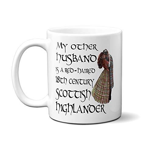 Lustige Jamie Fraser Outlander Tasse My Other Husband is a Scottish Highlander TV-Show Fan Season Book Series Claire Fraser (313 ml, weiß)