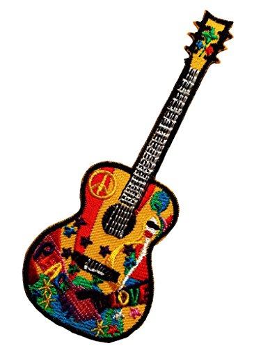 Aufnäher / Bügelbild - Gitarre Peace Frieden Hippie - bunt - 5 x 12,8 cm - Patch Aufbügler Applikationen zum aufbügeln Applikation Patches Flicken