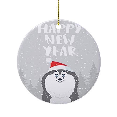 happygoluck1y Husky Weihnachtsschmuck, lustig, Weihnachtsbaumschmuck, runde Porzellan-Ornamente für Weihnachtsbaum, Weihnachtsgeschenke, Andenken