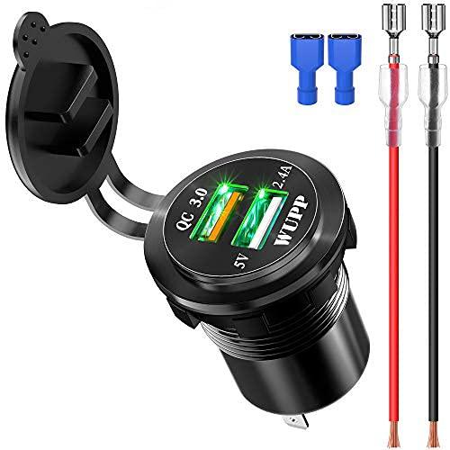 Kriogor - Toma USB de Aluminio para Coche, Impermeable, 2,4 A, Cargador rápido y 3.0, con Cable de extensión de 1,2 m, para Moto o Barco de 12 V-24 V Verde