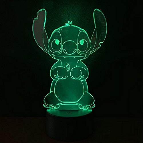Cartoon Teddy Stitch Night Light Led 3D Illusion Lámpara Decorativa Niño Niños Baby Nightlight Stich Lámpara De Escritorio Stitch Dog Bedside Remote Phone Bluetooth Control Color