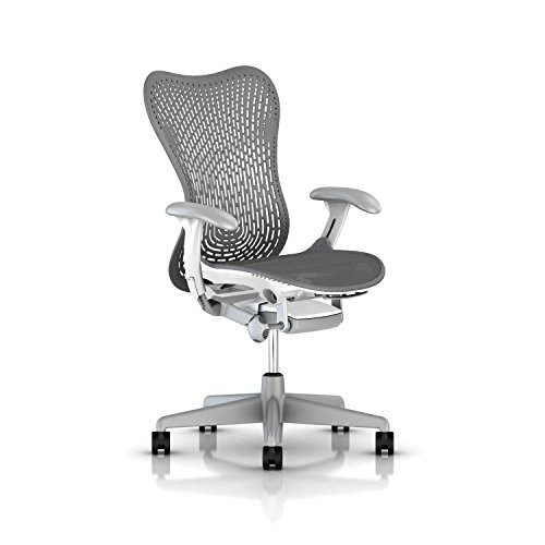 Herman Miller Mirra 2 Ergonomic Office Chair with Tilt Limiter and TriFlex Back Support | Adjustable Depth, Lumbar Support, and Arms with Carpet Casters | Studio White/Fog