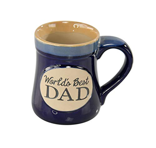 """HOME-X """"World's Best Dad"""" Blue Ceramic Novelty Mug for Dad, Grandpa, and More"""