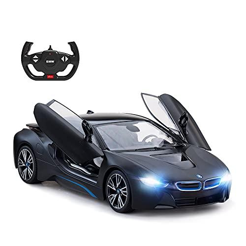 RASTAR BMW i8 model samochodu, 1:14 BMW zdalnie sterowany samochód, BMW i8 zabawka dla dzieci, otwarte drzwi firmy RC/światła robocze - czarny matowy