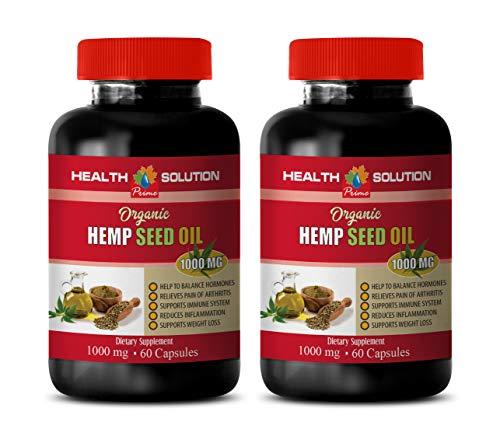Pain Relief Pills Extra Strength - Hemp Seed Oil Organic 1000 mg - Dietary Supplement - Hemp Oil in Capsule Form - 2 Bottles 240 Liquid Capsules