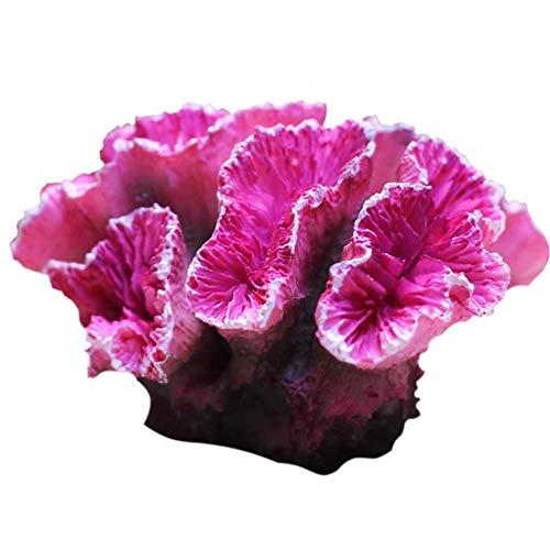 XIAOQI Acuario de plantas artificiales de resina no tóxica, decoración de paisajismo, color rosa