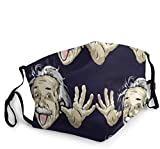 Funny Albert Einstein Face Mask Balaclava Washable Outdoor Nose Mouth Cover Fashion for Unisex Men Women Black