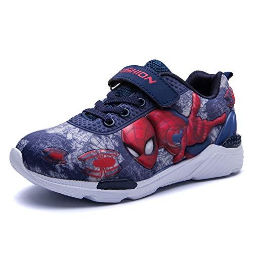 XNheadPS Garçons Formateurs Casual Enfants Spiderman Formateurs Printemps Automne Chaussures Enfant Mode légère Chaussures de Sport Confortable,Blue-25