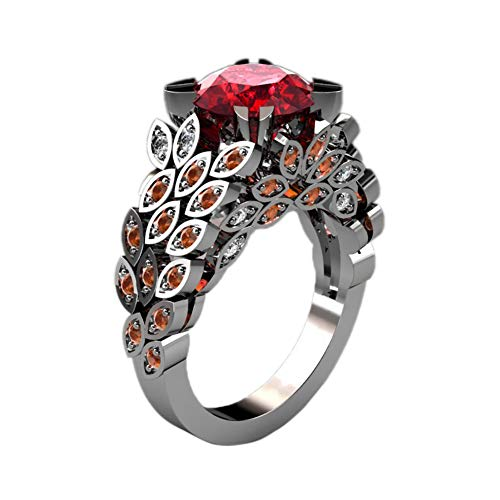 JESMING Dainty Leaf Ruby Ring, 925 Silver Plated Red Crystal Ring Cubic Zirconia Eternity Band Ring Cocktail Ring|Ring for Women