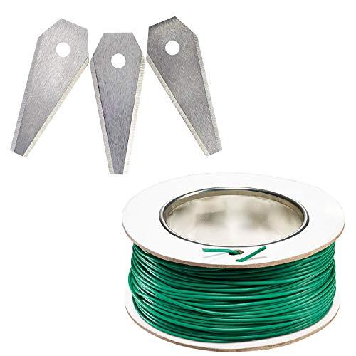 Bosch 3-tlg. Set Rasenmäher Messer (für Mähroboter Indego, Cutting blades 3x, im Karton) + Bosch Begrenzungskabel (für bosch Indego Mähroboter, 100m)