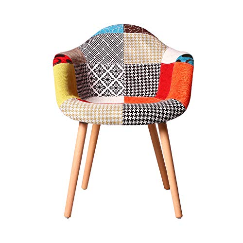 ELIGHTRY Esszimmerstühle mit Massivholz Bein, mit Armlehnen aus Leinen mit Patchworkdruck,...