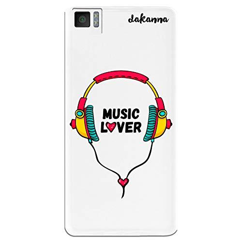dakanna Funda para BQ Aquaris M5.0 | Auriculares con Frase: Music Lover | Carcasa de Gel Silicona Flexible | Fondo Transparente