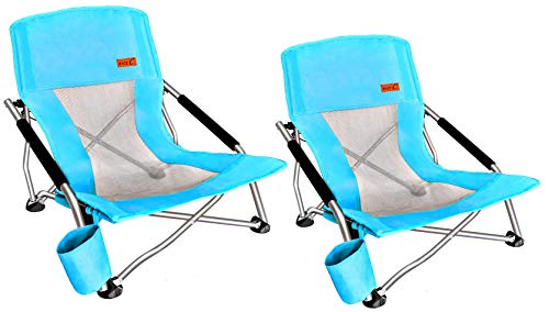 Nice C Low Beach Camping Folding Chair, Ultralight Backpacking Chair with Cup Holder & Carry Bag Compact & Heavy Duty Outdoor, Camping, BBQ, Beach, Travel, Picnic, Festival (2 Pack of Blue)