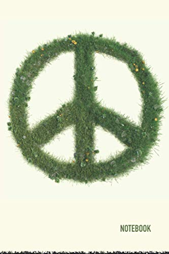 Notebook: Peace Symbol Green Theme Cover Journal Cahier: 6 x 9 120 Pages Notebook for Notes, Ideas,
