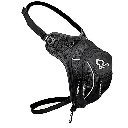 Bolso Pierna Moto riñonera Cintura Hombre Mujer Impermeable para Senderismo Bicicleta Moto Deporte,Carreras de Motos IR de Excursión (Black 01)