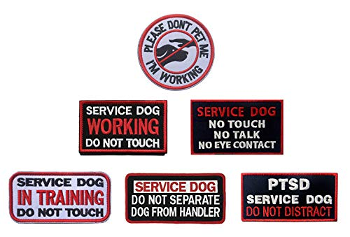Antrix Bundle 6 Pieces Service Dog Please Don't PET ME I'm Working Service Dog Working in Training Do Not Touch Full Embroidered Morale Patch for Dogs and Pets