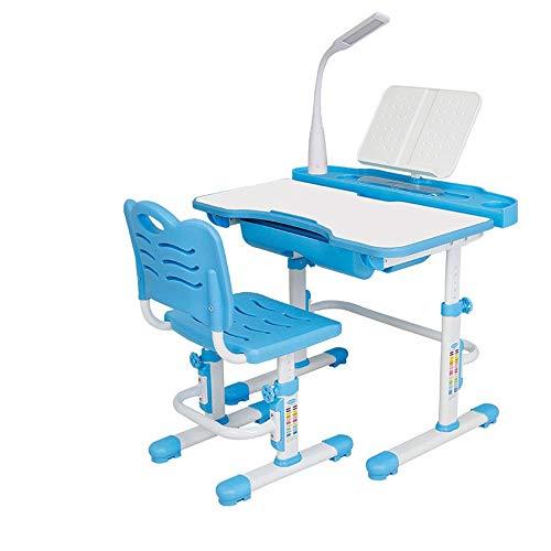 Studie tafel en stoel set multifunctionele LED-lampen met tafels en stoelen voor kinderen om te leren bureaustoel School Studentenbureaus en stoelen kunnen worden aangepast pak multifunctionele kinderen tafel en Chai