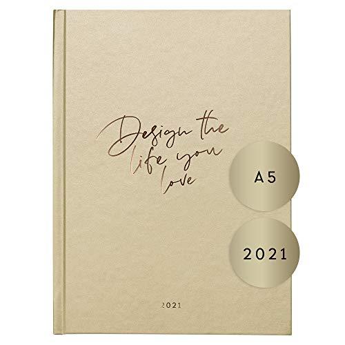 "JO & JUDY Kalender 2021""Design the life you love"" goldfarben, 21,0 cm x 14,8 cm x 1,9 cm"