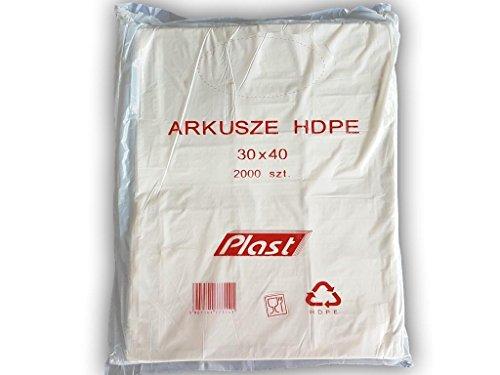 (Pack van 4000) HDPE 30 x 40 cm, 300 x 400 mm, HD vellen, PE vellen, polytheen platen, plastic vellen Food Butchers Bakkerij Winkel Plastic Tassen Afvalvoer product