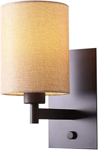 Iron Linnen Shades wandlamp, E27 fitting, Modern Minimalistisch Amerikaanse binnenverlichting, for woon/slaapkamer/eetkamer (Kleur: Beige), Kleur: Beige (Color : Beige)
