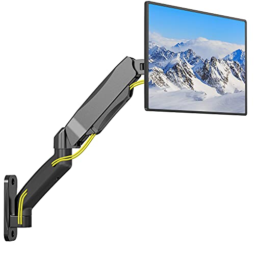 WALI Single LCD Monitor Fully Adjustable Gas Spring Wall Mount Fits 1 Screen VESA up to 27 inch, 14.3 lbs. Weight Capacity, Arm Max Extension 21.2 inch (GSWM001), Black