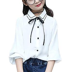 ボタンシャツ ガールズ 女の子 ワイシャツ 長袖 キッズ トップス ブラウス 可愛い リボン フリル袖 通学 通園 ホワイト 130