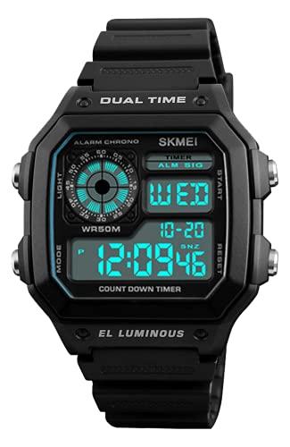 Reloj Digital Niños, Relojes Deportivos para Hombre Negro, 50M Impermeable Relojes de Pulsera de Grande para Niños Adolescentes con LED/Temporizador/Alarma/Cronómetro