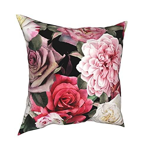 Funda de Almohada Fundas de Almohada 45x45cm Patrón Floral Transparente con Flores, decoración de Acuarela para decoración del hogar, Oficina, sofá, Bar, café, Boda, Coche