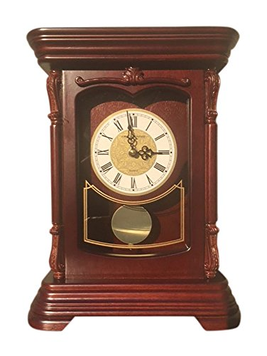 Vmarketingsite Mantel Pendulum Solid Wood Table Battery Operated. Quiet, Shelf Clock Westminster Chimes on The Hour, 9.9' x 12.6' x 4.4', Mahogany