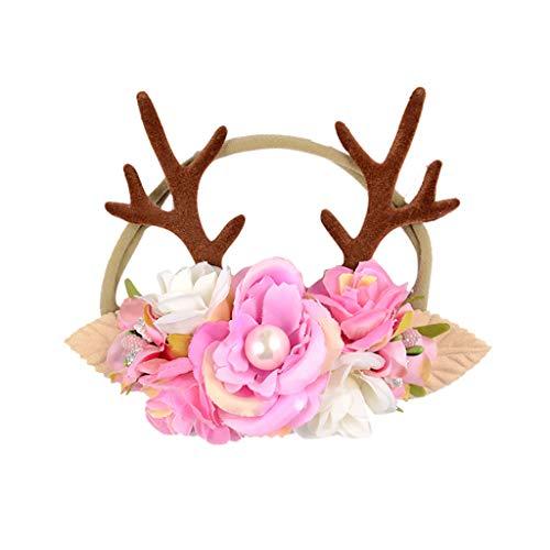 Baby Kinder Weihnachten Haarreif Mädchen Blumen Geweihe Kostüm Haarband Rentier mit Ohren und Blüten Rentiergeweih, Goldene Glocke Haarbänder Stirnband für Karneval, Geburtstagsparty, Cosplay