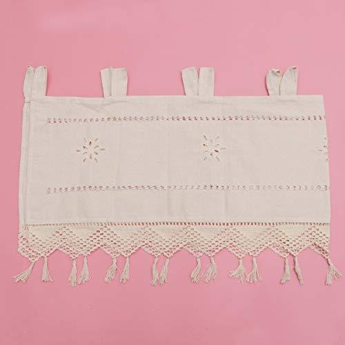 IMIKEYA cortina de niveles de cocina cortina corta de lino de algodón cortina de cocina bordada cortina de panel corto ahuecado cortina de ventana corta de media cortina sombreada beige