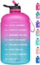 Venture Pal Large 1 Gallon Motivational Water Bottle with 2 Lids (Chug and Straw), Leakproof BPA Free Tritan Sports Water Jug with Time Marker to Ensure You Drink Enough Water Throughout The Day