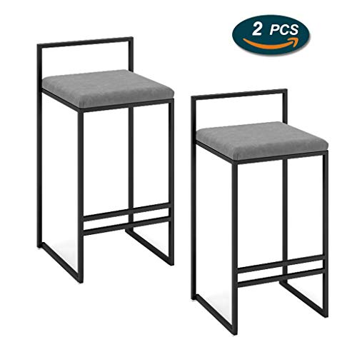 GYPPG Grey Counter Height Stool Metal Iron Bar Chair with Upholstered Velvet Seat Simple Line Design Heavy-Duty Barstools for Pub, Cafe, Kitchen, Restaurant - [1 Pieces/2 Pieces]