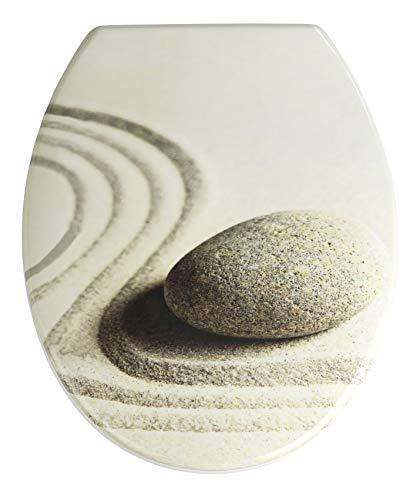 WENKO WC-Sitz Sand and Stone, Toilettensitz mit Hygienebefestigung aus rostfreiem Edelstahl, Toilettenbrille aus antibakteriellem Duroplast, 37,5 x 45 cm