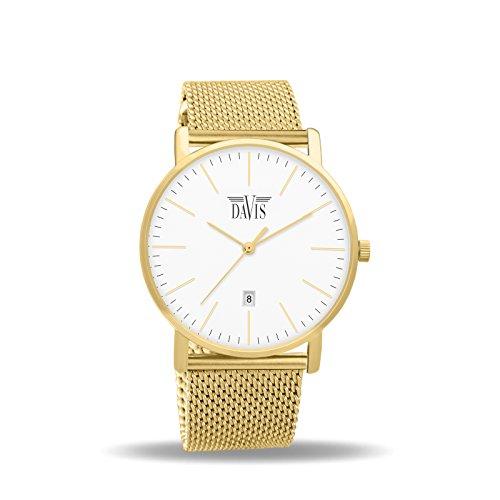 Davis 2044–diseño para hombre reloj clásico oro amarillo Ultra Thin Caso Blanco Dial Fecha Correa de malla