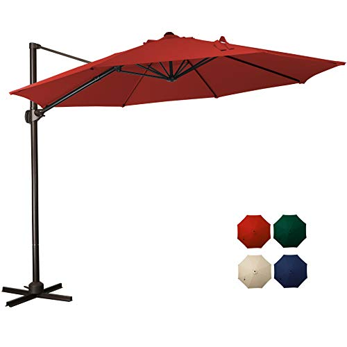 MEWAY 10 Feet Offset Cantilever Umbrella, Patio Umbrella with Adjustable Angle 360°, Outdoor Market Umbrellas with Crank Lift & Cross Base (Red)