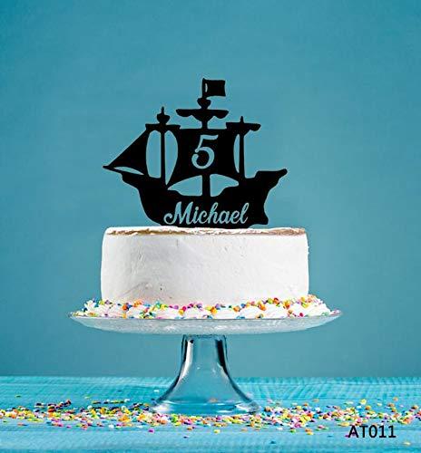 Gepersonaliseerde Cake Topper, Verjaardagstaart Topper, Feestdecoratie Topper, Cake Decor, Acryl Cake Topper, Zeilboot Party Decor AT011
