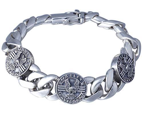 XIRENZHANG Pulsera de plata de ley S925 para hombre, personalidad, vintage, Eagle Harley, exquisita mano de obra, regalo de plata, longitud 20 cm