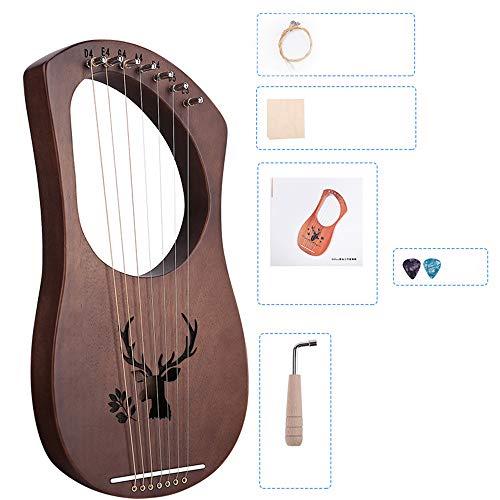 Lira Arpa Arpa China 7 Cuerda del Arpa de Acero Heptachord de Solidwood Caoba lejía Arpa con Llave de afinación Regalo para Amantes de la música para Adultos Principiantes niños