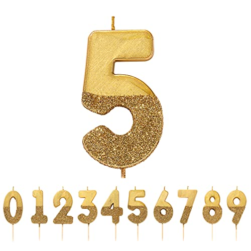 Talking Tables BDAY-CANDLE-GLD-5 We Heart Birthdays Glitter Number Candle 5, Dorado, Height 8 cm, 3'