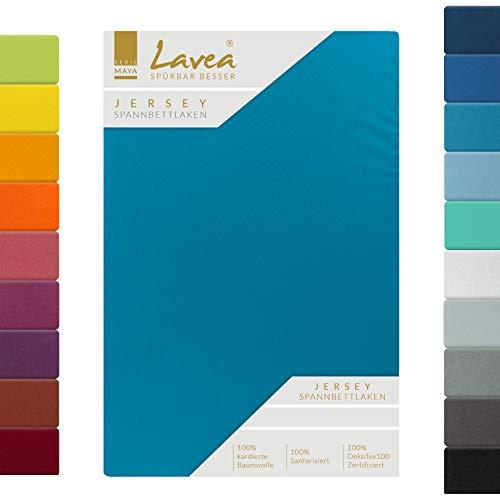 Lavea, lenzuolo in jersey con angoli, serie Maya, 100% cotone, lavorazione di alta qualità, con elastico, certificazione Oeko-Tex 100, Cotone, acquamarina, 180x200cm | 200x200cm