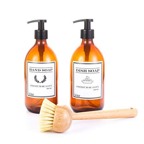 2 bottiglie di vetro ambra con dispenser di sapone liquido per mani e stoviglie + 1 spazzola in legno con manico lungo per strofinare piatti, pentole e casseruole