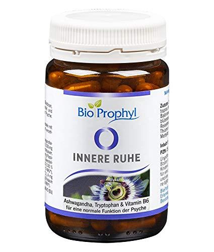 BioProphyl® Innere Ruhe mit Ashwaghanda 5{63c73540134610c54a11bdb5751f820784fc2565602b5f10cf3029afc202af90} Withanoliden, Baldrian, Hopfen und Lavendel + L-Tryptophan und B-Vitaminen zur Unterstützung der Psyche - 60 pflanzliche Kapseln für 1 Monat - 100{63c73540134610c54a11bdb5751f820784fc2565602b5f10cf3029afc202af90} vegan
