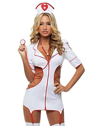 Tofox Disfraces Sexys Mujer, Colegiala Cosplay Disfraz Enfermera Ropa Interior Conjuntos Club Mini Vestidos para Navidad Halloween